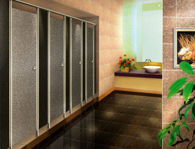 人造板材隔断,一般为12或18mm厚的酚醛树脂高压板,防潮,耐撞,耐污损